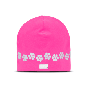 Nice and soft hat with reflectives and a trending color of fuxia. Reflectivepattern similar cloudberries runs around the hat