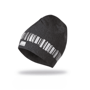 Fashion reflective beanie in a dark grey color. Pattern of northern lights around the head