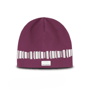 Modern reflective beanie in a warm burgundy color. Pattern in northern lights runs around the hat