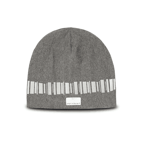 Designed reflective beanie in modern a grey color. Patterns in reflective similar northern lights.