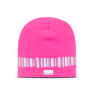 Modern reflective hat in lovley fuxia. A reflectivepattern similar northern lights runs around the head