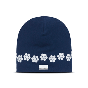 Soft reflective hat a beautiful blue color. Pattern similar cloudberries goes around the hat