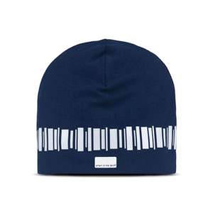 Soft beanie with reflectives in a beautiful color of navy blue. Reflectivepattern similar northern lights around the hat