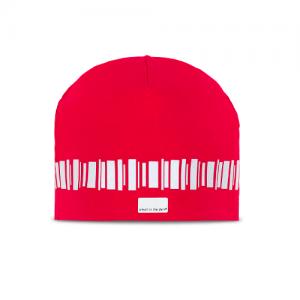 Kjekk reflekslue i bomull i vakker röd. En reflekterende løkke i mønsteret nordlys løper rundt hatten.