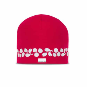 Modern hat with reflectives in a trending red color. Reflectivepattern similar lingonberries runs around the head