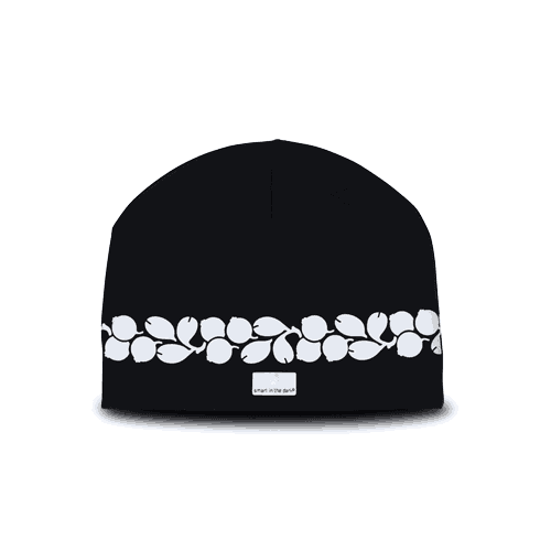 reflective cotton beanie black with lingonberry design